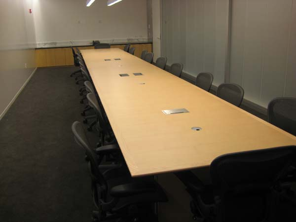 Cross grain reverse knife conference table